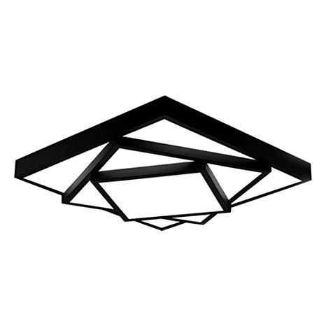 SOUTHPO Creative Rubik's Cube Ceiling Light Fixture Flush Mount Modern Geometric Square Ceiling Lamps for Living Room Multi-Layer Iron Acrylic LED Ceiling Lighting Bedroom White Light 24W Black Border