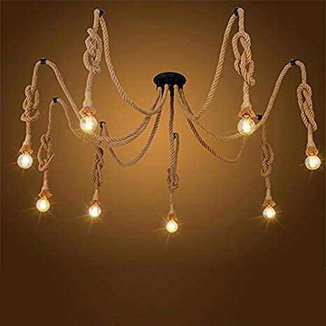 Pendant lights 8 Heads Country Retro Hemp Rope Hanging Lamp Living Room Restaurant light Fixture Not Included Bulb