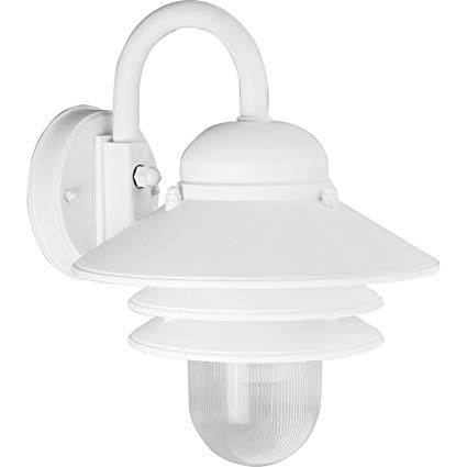 Progress Lighting P5645-30 Single-Light Plastic Outdoor Wall Lantern with Prismatic Acrylic Shade, White