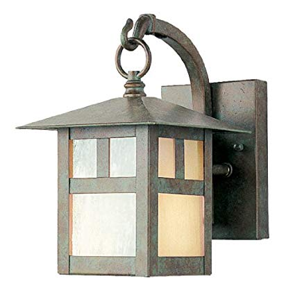 Livex Lighting 2130-16 Outdoor Wall Lantern with Iridescent Tiffany Glass Shades, Verde Patina