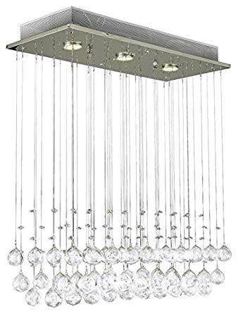 Modern Chandelier Rain Drop Lighting Crystal Ball Fixture Pendant Ceiling Lamp, H39 X W25 X Depth 10, 3 Lights,
