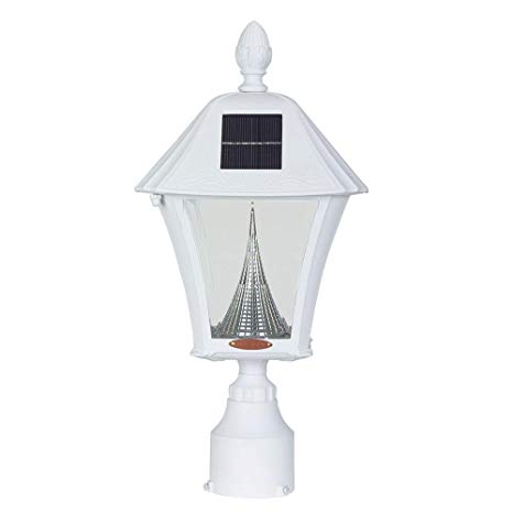Baytown Solar Outdoor White Post Light with Warm-White LEDs and 3 in. Fitter Mount