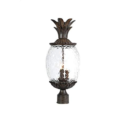 Three Light Black Coral Post Light Model-7517BC