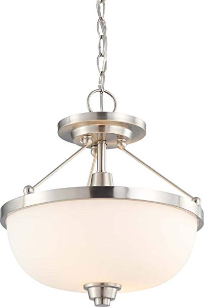 Nuvo Lighting 60/4188 Two Light Helium Semi-Flush Dome with Satin Glass, Brushed Nickel