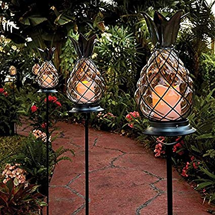 Set of 3 Outdoor Battery Operated Tropical Tiki Glass Black Metal Pineapple Pathway Stakes Lights Lanterns Lawn Landscape Lighting