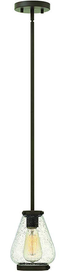 Hinkley 3687OZ Transitional One Light Pendant from Finley collection in Bronze/Darkfinish,