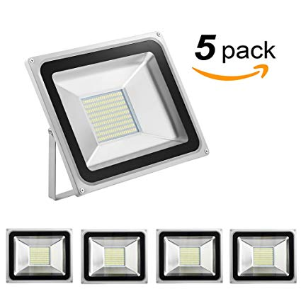 Missbee 5 Pack 100W Led Flood Light,Outdoor Spotlight,Waterproof IP65,6000-6500K,11000lm, Super Bright Security Lights for Garage, Garden, Lawn,Yard and Playground (Cold White)