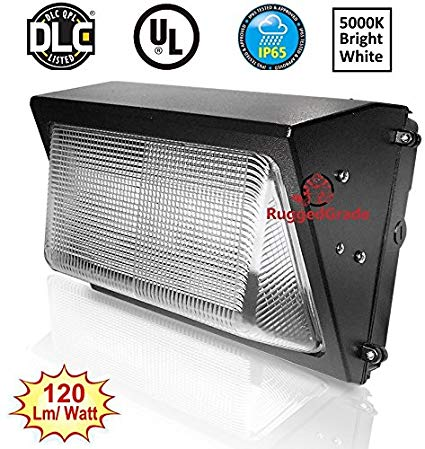 80 Watt LED Wall Pack Light – 9,800 Lumens- Dusk to Dawn Sensor (photocell) built in - High Efficiency 120 Lumen to Watt - Wall Pack LED - 5000K Bright White - Replaces 500-600W - 100,000 Hour LED