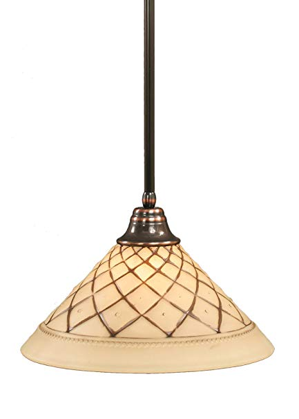 Toltec Lighting 26-BC-718 Stem Pendant Light Black Copper Finish with Chocolate Icing Crystal Glass Shade, 16-Inch