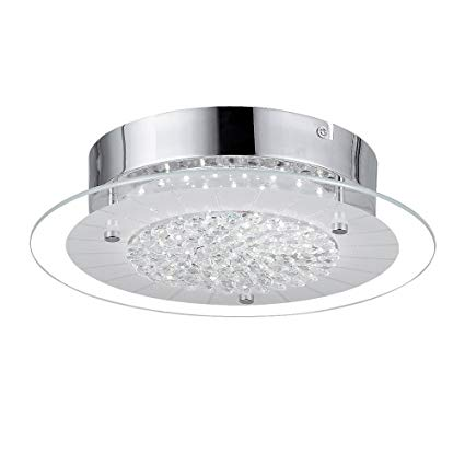 AUDIAN Flush Mount Ceiling Light Ceiling Lamp Dimmable LED Modern Roundness Glass Shade K9 Crystal Bead Ceiling Flush Mount Polished Chrome Light for Porch Balcony Children's Room Bathroom W11H2.8''