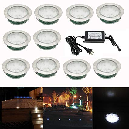 Pack of 10, Outdoor Waterproof 30 SMD3528 LED Deck Light Kit Garden Decoration Lamps Stainless Steel Recessed Pathway Stair Step Landscape LED Lighting, Cold White