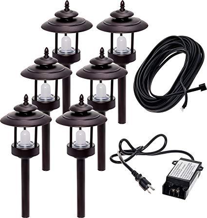 6 Pack Westinghouse 100 Lumen Low Voltage LED Pathway Light Landscape Kit (Bronze)