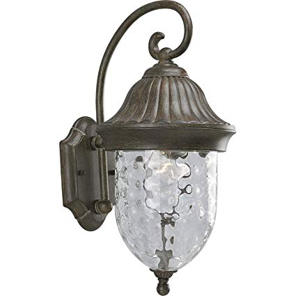 Progress Lighting P5828-87 1-Light Chain Hung Lantern with Optic Hammered Clear Glass, Fieldstone