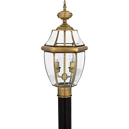 Quoizel NY9042A Newbury 2-Light Outdoor Lantern, Antique Brass