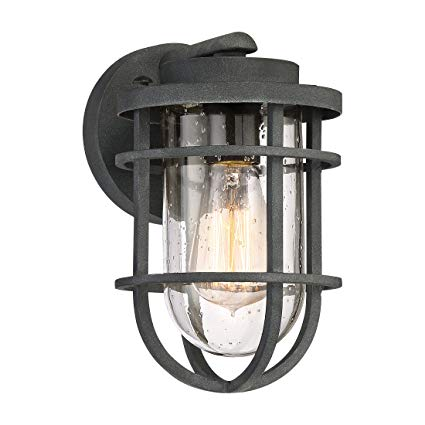 Quoizel BRD8406MB One Light Outdoor Wall Lantern, Small, Mottled Black