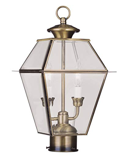 Livex Lighting 2284-01 Westover 2-Light Outdoor Post Head, Antique Brass
