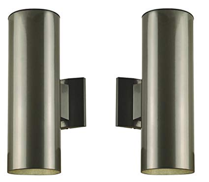 Two-Light Outdoor Wall Fixture, Polished Graphite Finish on Steel Cylinder ( Pair of 2)