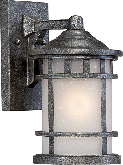 Nuvo Lighting 60/5631 Manor Industrial Small 1-Light Wall Lantern 60-watt A19 Outdoor Porch and Patio Lighting Frosted Seed Glass, Aged Silver
