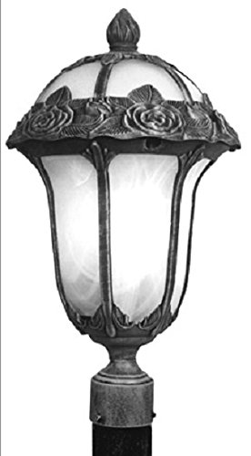 Special Lite Products Rose Garden F-2710-SW/AB Medium Post Mount Light, Swedish Silver