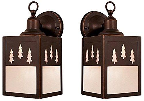 One Light Outdoor Wall Light, Bronze - 2 Pack