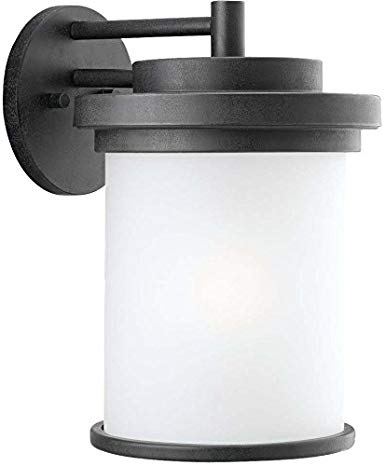 Sea Gull Lighting 88662-185 Outdoor Sconce with Satin Etched Glass Shades, Forged Iron Finish