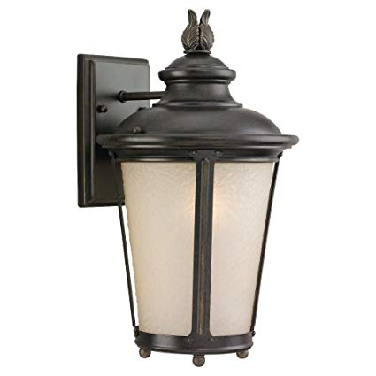 Sea Gull Lighting 88241-780 Outdoor Sconce with Etched Hammered with Light AmberGlass Shades, Burled Iron Finish