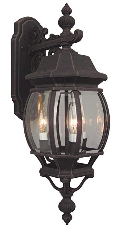 Craftmade Z334-07 Wall Lantern with Beveled Glass Shades, Rust Finish