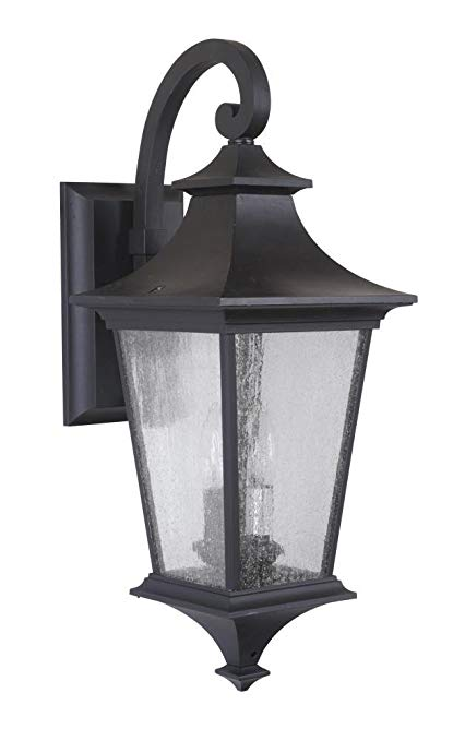 Exteriors Z1364-11 Argent LED II 2 Light Medium Wall Mount with Clear Seeded Glass, Midnight