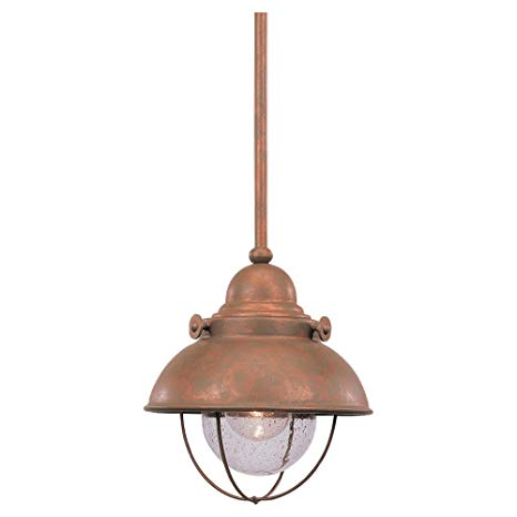 Sea Gull Lighting 6150-44 Sebring One-Light Outdoor Mini-Pendant with Clear Seeded Glass Shades, Weathered Copper Finish