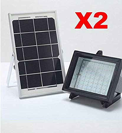 Bizlander X2 PACK 2018 NEW Commercial Grade 5W60LED Solar Light for Garden, Driveway, Carport, Gazebo Patio Balcony, Shed, Storage
