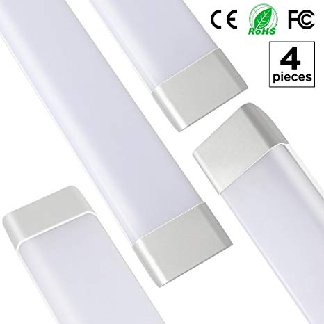 4-Pack 3ft/0.9m T11 Dustproof LED Integrated Tube Lights Fixture with Brackets Milky Cover 40W 85-265V 180 Degrees Beam Angle 3000LM Daylight 6500K T11JS90