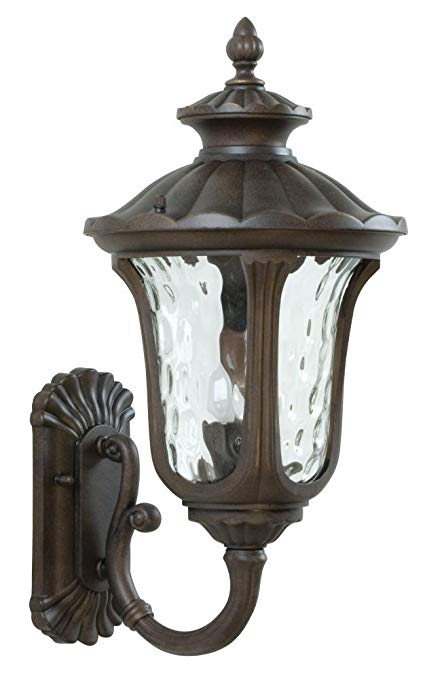Craftmade Z3520-98 Wall Lantern with Clear Hammered Glass Shades, Bronze Finish