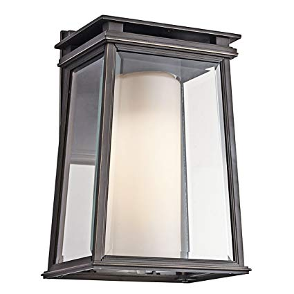 Kichler 49401RZ Lindstrom 1-Light Exterior Wall Mount, Rubbed Bronze Finish with Clear Beveled and Satin Etched Glass