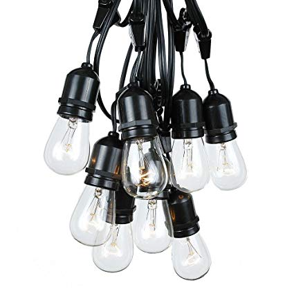 100 Foot S14 Edison Outdoor String Lights – Suspended - Commercial Grade - Backyard Garden Gazebo – Cafe Market String Lights – Vintage Patio String Lights – Black Wire - 50 Clear S14 Bulbs
