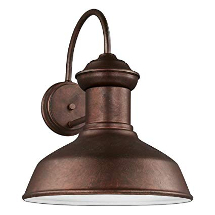 Sea Gull Lighting 8647701-44 Fredricksburg One-Light Outdoor Wall Lantern, Weathered Copper Finish