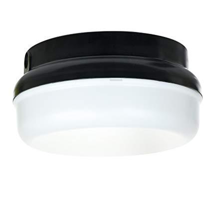 Sunlite 49008-SU LFX/DOD/PTR/BK/WH/40K Decorative Outdoor LED Protek Round Polycarbonate Fixture, Black Finish, White Lens