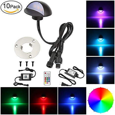 LED Deck Lighting Kits, FVTLED 10pcs WiFi Controller Φ1.97 Low Voltage LED Deck Lighting RGB Recessed Light Work with Alexa Google Home Wireless Smart Phone RGB Lamp