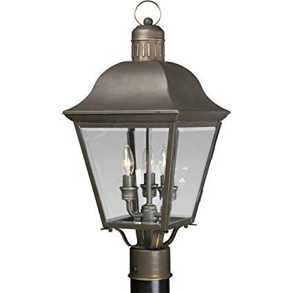 Progress Lighting P5487-20 3-Light Andover Post Lantern, Antique Bronze
