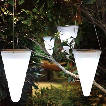 Solalite Set Of 6 Solar Outdoor Garden Hanging Tree Cornet Cone LED Lights 6 White