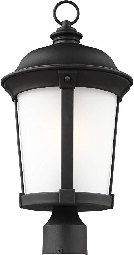 Sea Gull Lighting 8250701EN3-12 Calder Outdoor Post Mount, 1-Light LED 9.5 Watts, Black