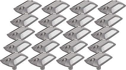 GreenLighting 20 Pack Reflective Road Stud - Commercial Grade Aluminum Road Pavement Marker by (Silver)